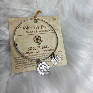 Wind And Fire Soccer Silver Charm Bracelet NWT